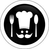 Black symbol of a cook. Round and black symbol of a cook Royalty Free Stock Photos