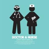 Black Symbol Doctor And Nurse Royalty Free Stock Image