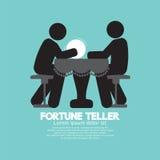 Black Symbol Fortune Teller With Crystal Ball. Vector Illustration stock illustration