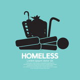 Black Symbol Graphic Of Homeless. Stock Photos