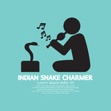 Black Symbol Indian Snake Charmer. Royalty Free Stock Photo
