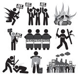 Black Symbol Protest Icon Set. Royalty Free Stock Photography
