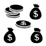Black symbols of money. Pile of coins and moneybags. Stock Photo