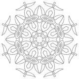 Black symmetric mandala. Isolated on white background Stock Photography