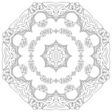Black symmetric mandala. Like a adult coloring page Royalty Free Stock Images