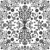 Black symmetric traditional curled decoration Stock Photo