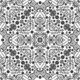 Black symmetric traditional curled pattern Royalty Free Stock Photos