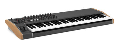 Black synthesizer isolated on white Royalty Free Stock Image