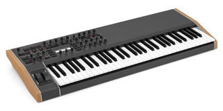 Black synthesizer isolated on white Stock Image