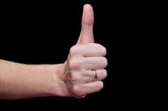 black tła pojedynczy kciuk, Zdjęcia Stock