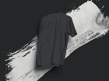 Black T-shirt on black background, 3d rendering Royalty Free Stock Image
