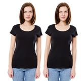Black t-shirt blank on a young woman template isolated on white background front stock photos