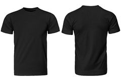 Black t-shirt, clothes. On isolated white background royalty free stock photography