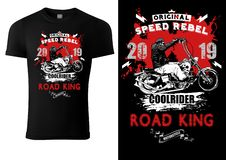 Free Black T-shirt Design With Motorcyclist And Inscriptions Stock Images - 159418454