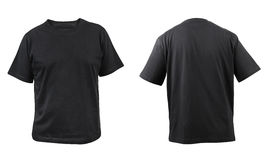 Black t-shirt front and back view. Royalty Free Stock Photos