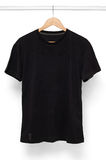 Black T-Shirt isolated with hanger.  Stock Image