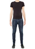Black t-shirt on man in jeans Stock Photo