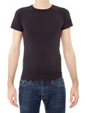 Black t-shirt on man Stock Image