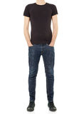 Black t-shirt on man Royalty Free Stock Photo
