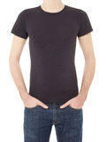 Black t-shirt on man on white Royalty Free Stock Images