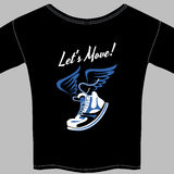 Black T-shirt printed with a winged sneaker Royalty Free Stock Photo