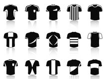Black t-shirt soccer clothing icons set Royalty Free Stock Photography