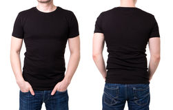 Black t shirt on a young man template stock photography