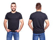 Black t shirt on a young man template. On white background Stock Photography