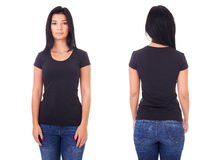 Black t-shirt on a young woman template royalty free stock photography
