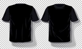 Black T-shirts template Set isolated, hand drawn tee shirts transparent background. Blank vector mockup advertising template. Concept graphic printing element vector illustration