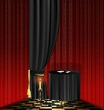 black table in the red room Royalty Free Stock Images