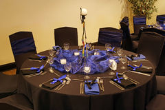 Black table setting. In a african theme Stock Photos