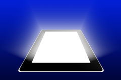 Black tablet on blue background Stock Image