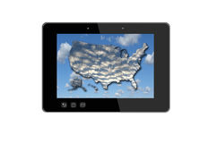 Black tablet and colorful map of USA Stock Images