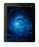 Black tablet computer. Black tablet pc with abstract on screen Royalty Free Stock Photography