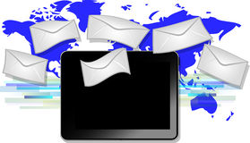 Black tablet with email symbols with blue world ma Royalty Free Stock Photos