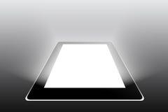 Black tablet on grey background Stock Photo