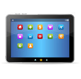 Black tablet like Ipade and icons Stock Photo