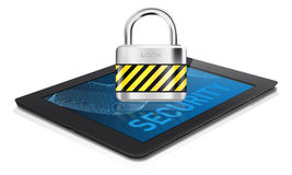 Black tablet with metal lock on display -  security concept Royalty Free Stock Image