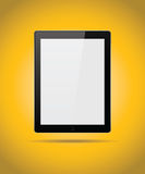 Black tablet mock up isolated on yellow background Stock Images