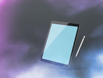 Black tablet mockup on a colour background with stylus. The template in the form of a black tablet mockup on colour background with a stylus. Clipping path Stock Image