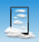 Black Tablet PC Computer with Clouds and Blue Sky Stock Image