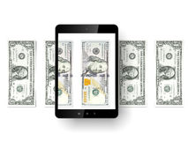 Black tablet pc with dollars. Isolated on a white background. 3d render Stock Photo