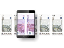 Black tablet pc with euro bills. Isolated on a white background. 3d render Royalty Free Stock Image