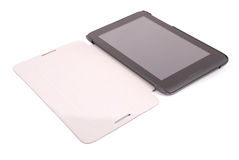 Black tablet PC isolated on white background (Clipping path) Stock Photo