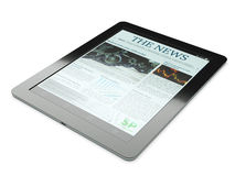 Black tablet PC with newspaper app Stock Photos