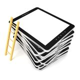 Black tablet PC stack with wooden ladder. 3d Stock Image
