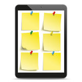 Black Tablet PC Yellow Stickers Mockup Stock Photo