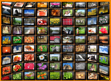 Black tablets with motley pictures Stock Photos