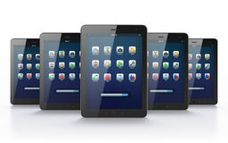 Black tablets on white background Stock Photo
